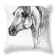 Piaff Polish Arabian Horse Drawing 1 Throw Pillow
