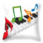 Piano Keyboard And 3d Music Notes Illustration Throw Pillow
