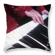 Piano Man At Work Throw Pillow by Aaron Martens