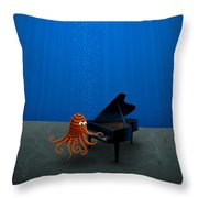 Piano Playing Octopus Throw Pillow