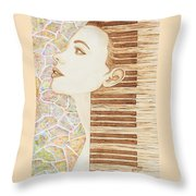 Piano Spirit Original Coffee And Watercolors Series Throw Pillow