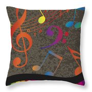 Piano Wavy Border With Colorful Keys And Music Note Throw Pillow