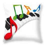 Piano Wavy Keyboard And Music Notes 3d Illustration Throw Pillow