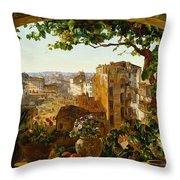 Piazza Barberini In Rome Throw Pillow