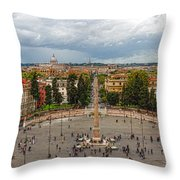 Piazza Del Popolo - Impressions Of Rome Throw Pillow