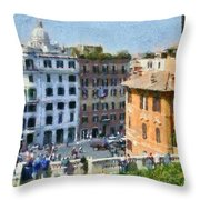 Piazza Di Spagna In Rome Throw Pillow