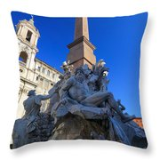 Piazza Navona Fountain Throw Pillow