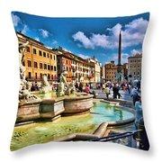 Piazza Navona - Rome Throw Pillow