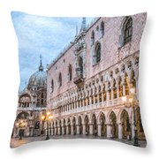 Piazza San Marco Venice Throw Pillow