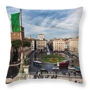 Piazza Venezia Throw Pillow by John Wadleigh