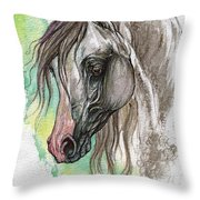 Piber Polish Arabian Horse Watercolor Painting Throw Pillow