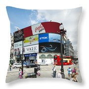 Picadilly Circus London Throw Pillow