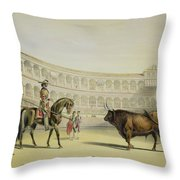 Picador Challenging The Bull, 1865 Throw Pillow
