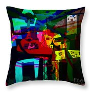 Picasso With A Twist Of Color. Throw Pillow