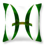 Pices Symbol And Heart Chakra Abstract Spiritual Artwork By Omas Throw Pillow