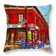 Piche's Grocery Store Bridge Street And Forfar Goosevillage Montreal Memories By Carole Spandau Throw Pillow