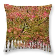 Picket Fence Fall Throw Pillow
