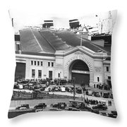 Pickets At The Sf Docks. Throw Pillow