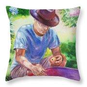 Picking Apples Throw Pillow