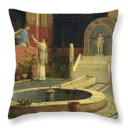 Picking Flowers From The Courtyard Throw Pillow