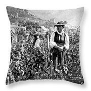 Picking Grapes In Switzerland Throw Pillow