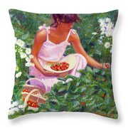 Picking Strawberries Throw Pillow