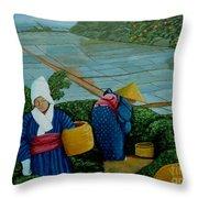 Picking The Green Tea Throw Pillow