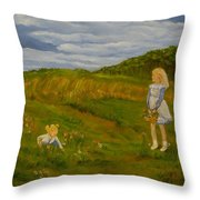 Picking Wildflowers Throw Pillow