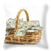 Picnic Basket Full Of Money Throw Pillow