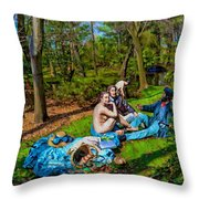 Picnic In The Nude Throw Pillow