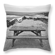 Picnic - Lone Table Overlooking The Ocean In Montana De Oro State Park In Caliornia Throw Pillow