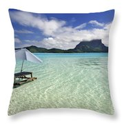 Picnic Table And Umbrella In Clear Lagoon Throw Pillow