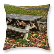 Picnic Table In Autumn Throw Pillow