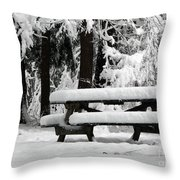 Picnic Table In The Snow Throw Pillow