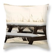Picnic Table In Winter Throw Pillow