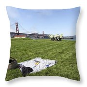 Picnicking At Golden Gate Park Throw Pillow