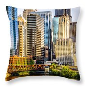 Picture Of Chicago Buildings At Lake Street Bridge Throw Pillow