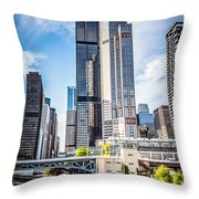 Picture Of Chicago Buildings With Willis-sears Tower Throw Pillow