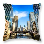 Picture Of Chicago River Skyline At Clark Street Bridge Throw Pillow