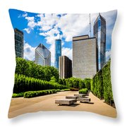Picture Of Chicago Skyline With Millennium Park Trees Throw Pillow