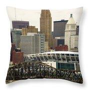 Picture Of Cincinnati Skyline Office Buildings  Throw Pillow by Paul Velgos