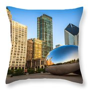 Picture Of Cloud Gate Bean And Chicago Skyline Throw Pillow by Paul Velgos