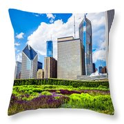 Picture Of Lurie Garden Flowers With Chicago Skyline Throw Pillow