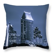 Picture Of San Diego Night Skyline Throw Pillow by Paul Velgos
