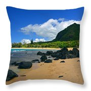 Picture Perfect Haena Beach Throw Pillow