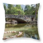 Picturesque Bridge In Yosemite Valley Throw Pillow