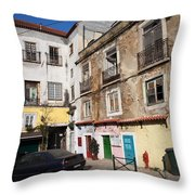 Picturesque Houses In Lisbon Throw Pillow