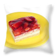 Piece Of Strawberry Cake Throw Pillow
