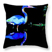 Pied Heron Throw Pillow