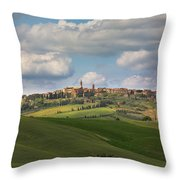 Pienza In The Afternoon Panorama Throw Pillow